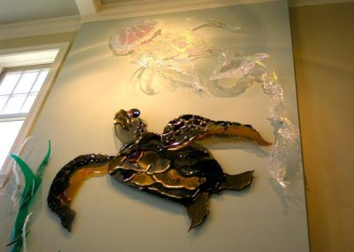 The Jellyfish and the Sea Turtle made from dichroic glass